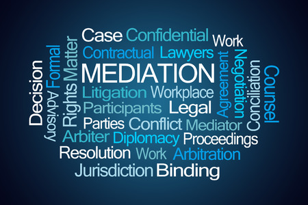 contractual: Mediation Word Cloud on Blue Background Stock Photo