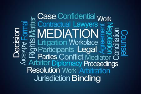 jurisdiction: Mediation Word Cloud on Blue Background Stock Photo