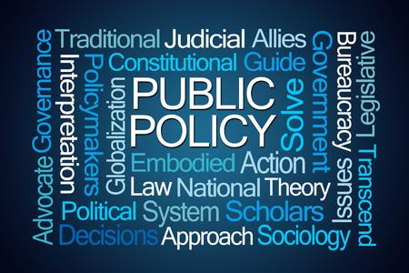sociologia: Nube de la palabra de Políticas Públicas en el fondo azul Foto de archivo