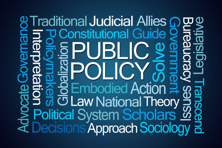 sociology: Public Policy Word Cloud on Blue Background