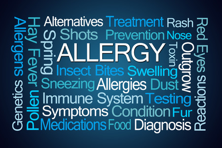 stress testing: Allergy Word Cloud on Blue Background Stock Photo