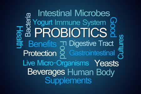 buena salud: Los probióticos nube de la palabra sobre fondo azul Foto de archivo
