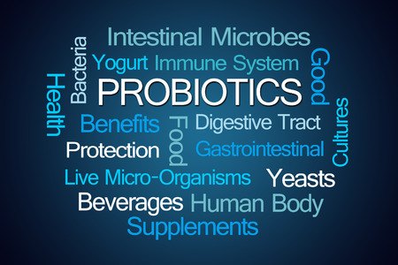 Probiotics Word Cloud on Blue Background Stock Photo