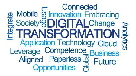 apalancamiento: La transformaci�n digital de nube de la palabra en el fondo blanco Foto de archivo