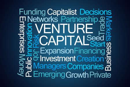 venture: Venture Capital Word Cloud on Blue Background