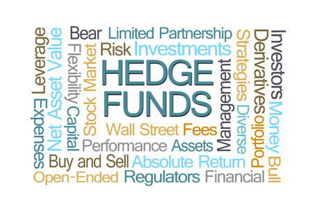regulators: Hedge Funds Word Cloud on White Background Stock Photo