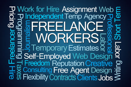 Freelance Workers Word Cloud on Blue Background