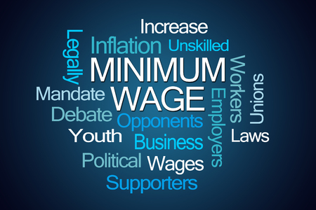 unskilled worker: Minimum Wage Word Cloud on Blue Background Stock Photo