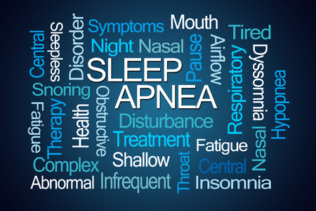 interrupted: Sleep Apnea Word Cloud on Blue Background