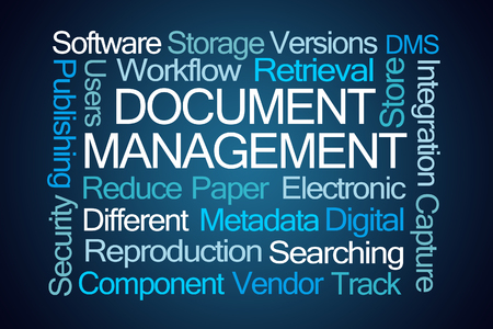 Document Management Word Cloud on Blue Background Stock Photo