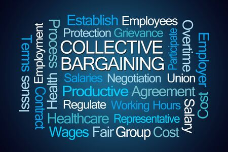 bargaining: Collective Bargaining Word Cloud on Blue Background