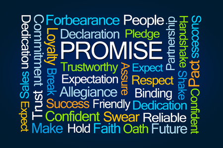 assure: Promise Word Cloud on Blue Background