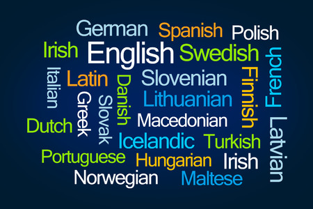 polish lithuanian: Languages Word Cloud on Blue Background