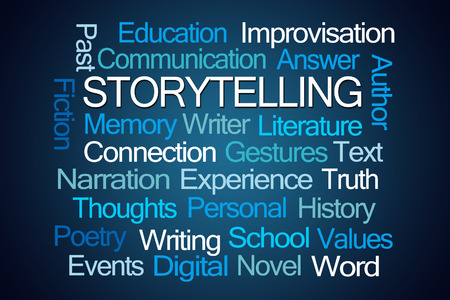 narration: Storytelling Word Cloud on Blue Background