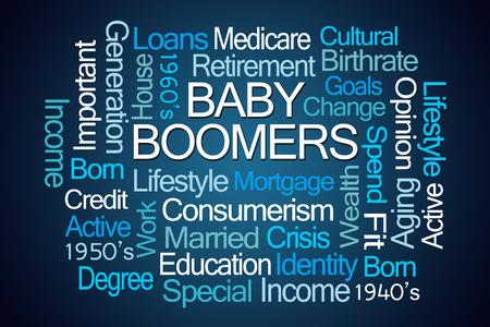 identidad cultural: Baby Boomers Nube de la palabra sobre fondo azul