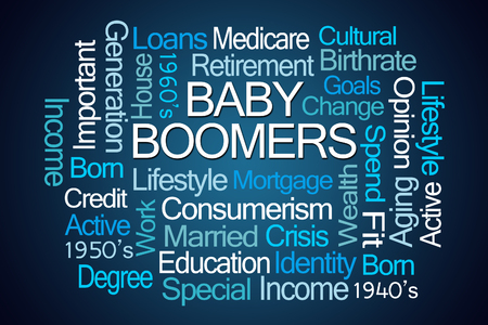 boomers: Baby Boomers Word Cloud on Blue Background