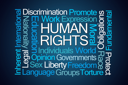 obligations: Human Rights Word Cloud on Blue Background