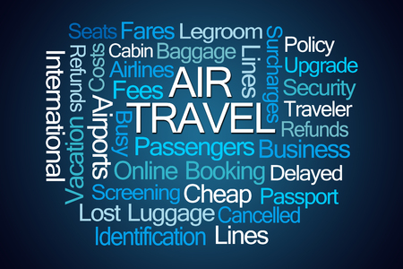 domestic policy: Air Travel Word Cloud on Blue Background