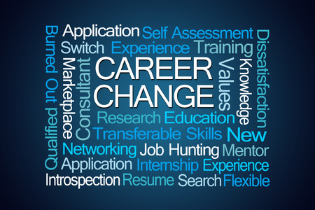 burned out: Career Change Word Cloud on Blue Background
