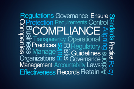 Compliance Word Cloud on Blue Background Banco de Imagens