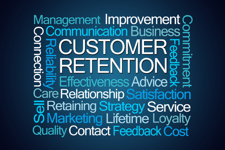 Marketing Strategy: Customer Retention Word Cloud on Blue Background Stock Photo
