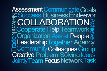 Collaboration Word Cloud on Blue Background Stock Photo