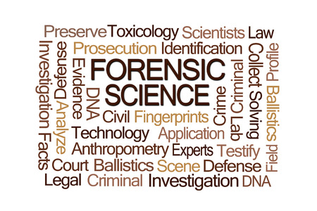testify: Forensic Science Word Cloud on White Background