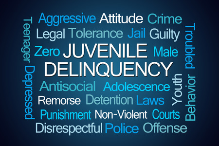 delinquency: Juvenile Delinquency Word Cloud on White Background