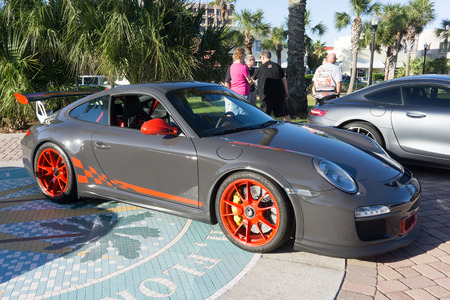 gt3: JACKSONVILLE BEACH, FLORIDA - OCTOBER 18, 2016: A 2010 Porsche 911 GT3 RS at the Jacksonville Beach Classic Car Cruise. Porsche is a German automobile manufacturer specializing in high-performance sports cars, SUVs and sedans. Editorial