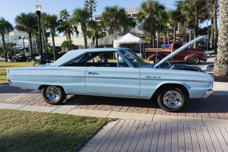 JACKSONVILLE BEACH, FLORIDA - OCTOBER 18, 2016: A 1966 Dodge Coronet 440 two-door hardtop at the Jacksonville Beach Classic Car Cruise. The Coronet 440 was available as a two-door hardtop, convertible or station wagon.