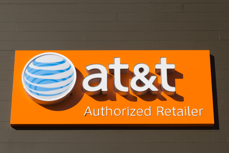 nationwide: JACKSONVILLE, FLORIDA, USA - OCTOBER 23, 2016: An AT&T Mobility sign in Jacksonville. AT&T Mobility is the second largest wireless telecommunications provider in the United States and Puerto Rico.