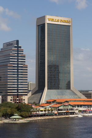 JACKSONVILLE, FL- OCTOBER 26, 2016: The Wells Fargo Building in downtown Jacksonville. Wells Fargo & Company was founded in 1929 and currently has 9,000 bank branches in 39 states.