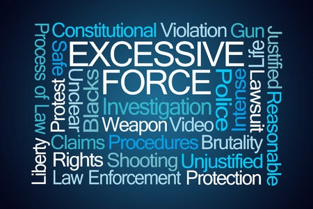 justified: Excessive Force Word Cloud on Blue Background Stock Photo