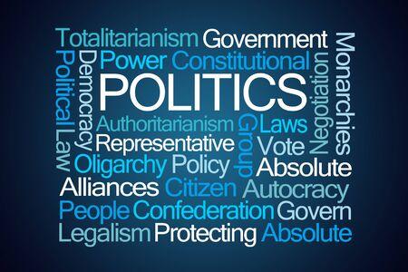 alliances: Politics Word Cloud on Blue Background