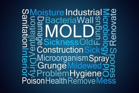 mildewed: Mold Word Cloud on Blue Background Stock Photo