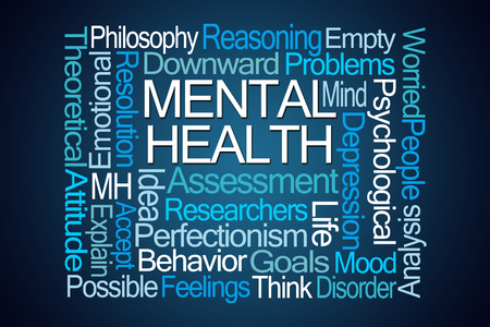 Mental Health Word Cloud on Blue Background Stock Photo