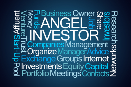 Angel Investor Word Cloud on Blue Background
