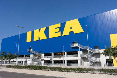home furnishings: VALENCIA, SPAIN -  DECEMBER 30, 2016: An Ikea home furnishings store exterior. Ikea is a Swedish multinational group of companies that designs and sells ready-to-assemble furniture. Editorial