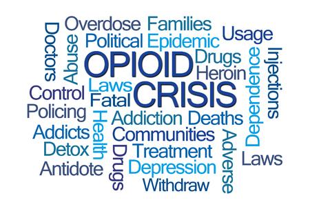 白い背景の opioid 危機単語の雲