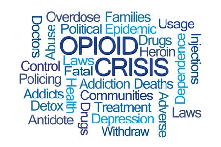 Opioid Crisis Word Cloud on White Background Banque d'images
