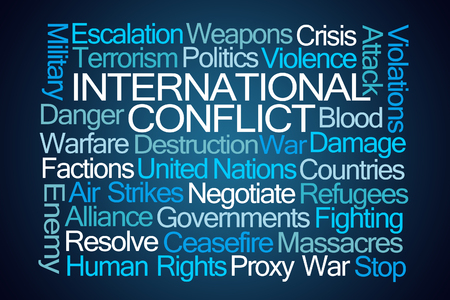 International Conflict Word Cloud on Blue Background Stock Photo