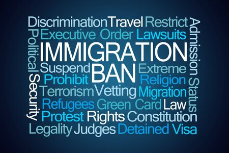 lawsuits: Immigration Ban Word Cloud on Blue Background