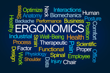 Ergonomics Word Cloud on Blue Background