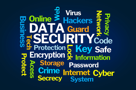 Data Security Word Cloud on Blue Background 스톡 콘텐츠