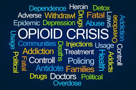drogadiccion: Nube de la palabra de la crisis de Opioid en el fondo blanco