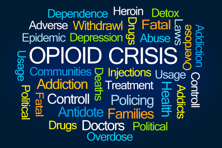 epidemic: Opioid Crisis Word Cloud on White Background Stock Photo