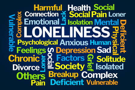 deficient: Loneliness Word Cloud on Blue Background Stock Photo