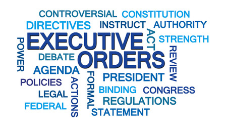 directive: Executive Orders Word Cloud on White Background
