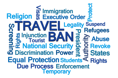 injunction: Travel Ban Word Cloud on White Background