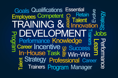 Training and Development Word Cloud on Blue Background Stock Photo